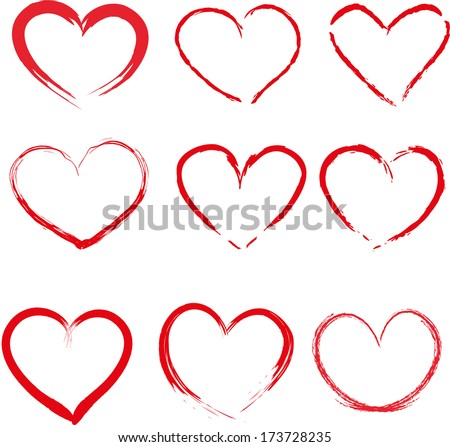 set of red hand drawn hearts