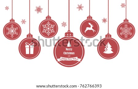Set of red hanging christmas balls with symbols such as snowflake, deer, gift and Christmas tree, isolated on white background. Vector illustration.