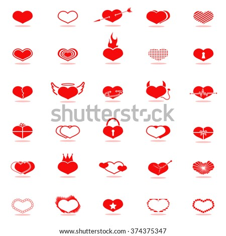 set of red hearts icons vector