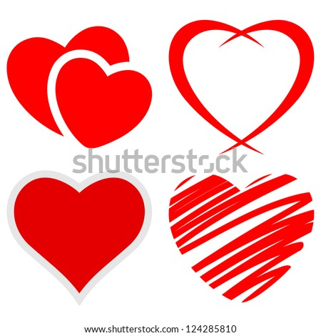 Set of red hearts on a white background. Vector.