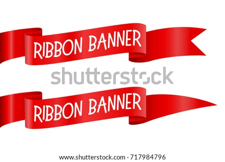 Set of Red horizontal ribbons banners isolated vector illustration on white background