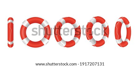 Set of red life buoys in different angles. Rescue belts, inflatable rubbers ring with rope for help and safety of life drowning. Vector realistic 3d isolated illustration on white. ストックフォト ©
