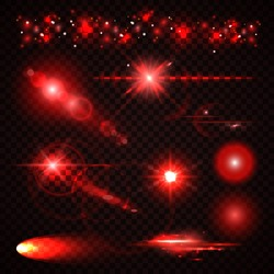 Set of red Light effects, spotlights, flash, stars and particles for your design. Vector illustration