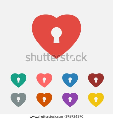 set of  red lock love vector