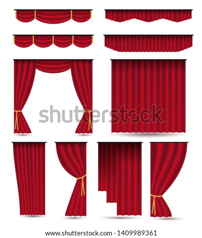 Set of red luxury silk velvet curtains and draperies.Realistic interior decoration design.Vector illustration isolated on white background