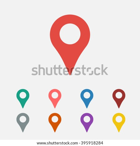 Set of: red Map pointer vector icon