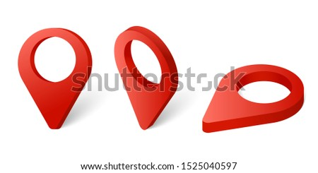 Set of red map pointers. Web location point, pointer 3d arrow mark illustration
