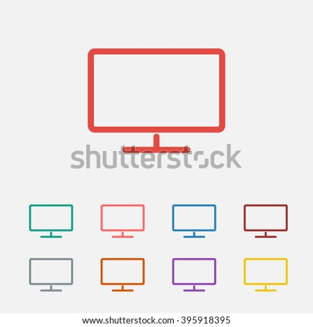 set of  red monitor vector icon