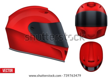 set of red motor racing helmets
