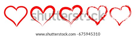 Set of red outlined vector hearts silhouette. Vintage style design for romantic love illustrations. Stock photo ©