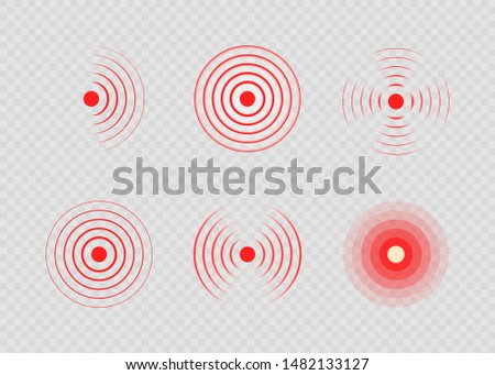 Set of red painful target spot. Pain circles. Sonar waves. Red rings of pain to indicate localization of ache. Vector illustration