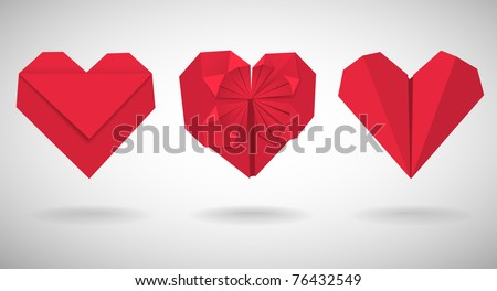 set of red paper hearts  vector