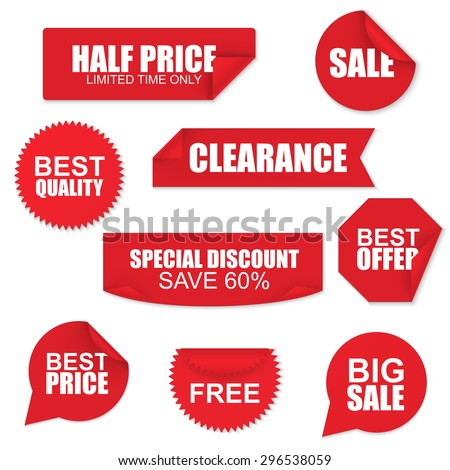 Set of red paper sale stickers on white background. Round, square, rectangular, twisted vector design template. #296538059