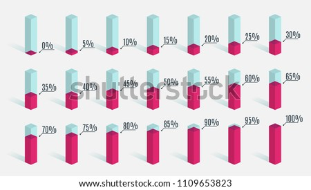 Set of red pink percentage charts for infographics, 0 5 10 15 20 25 30 35 40 45 50 55 60 65 70 75 80 85 90 95 100 percent