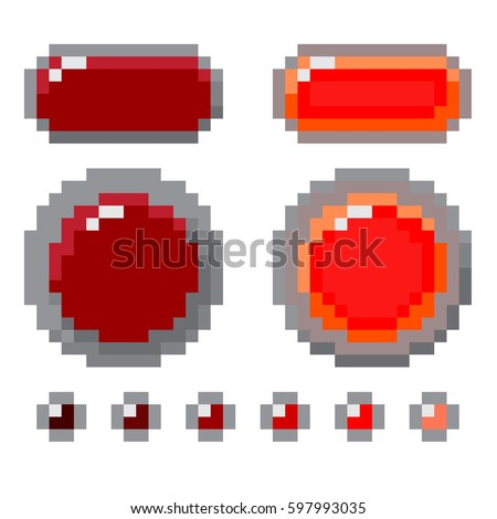 Set Of Red Pixel Button Design. Vector Shapes Isolated On White Background. Realistic Shade Colors. Pressed, Not Pressed. Vector EPS 10