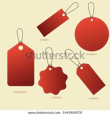 Set of Red Price tags. Gift tags. Paper labels. Flat design. isolated vectors.
