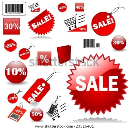 Set of red price tags in vector design