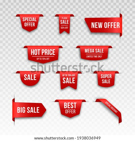 Set of red Price tags. Tag design for black friday. Realistic sales label.