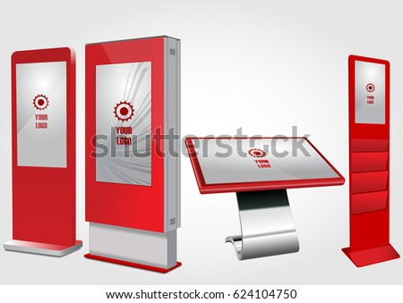 Set of Red Promotional Interactive Information Kiosk, Advertising Display, Terminal Stand, Touch Screen Display. Mock Up Template.