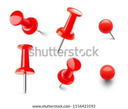 Set of red push pins in different angles isolated on white background. Vector illustration. EPS10.