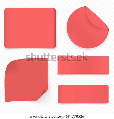 Set of red realistic sale paper banners or stickers #594778526