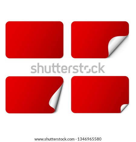 Set of red rectangle adhesive stickers with a folded edges, isolated on white background. #1346965580