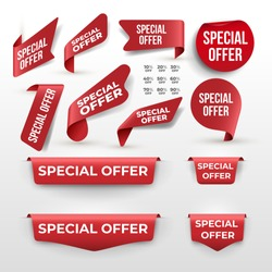 Set of Red ribbon and banner with Special Offer. Discount banner promotion template. Vector illustration. Isolated on white background.