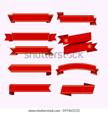 Set of red ribbons on pink background. vector illustration