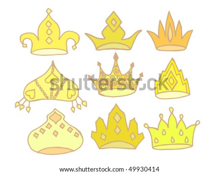 Set of Red Royal Crowns - doodle style