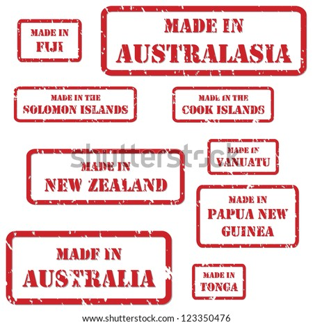 Set of red rubber stamps of Made In symbols for Australasia region, including Australia, New Zealand, Fiji, Cook Islands, Solomon Islands, Vanuatu, Tonga, Papua New Guinea