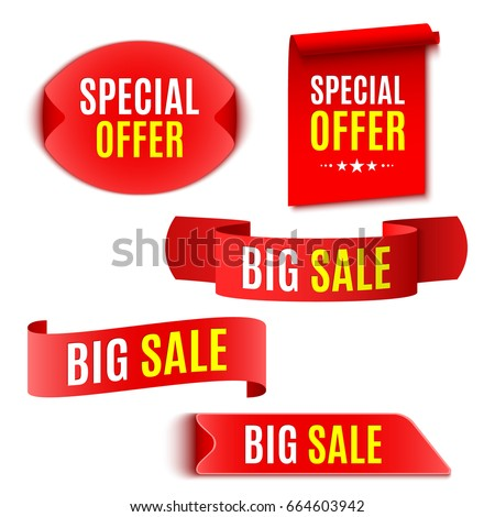 Set of red sale banners. Ribbons and stickers. Vector illustration.
