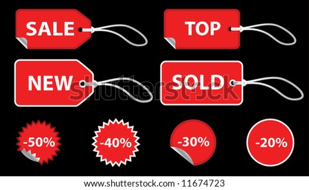 Set of red sale price tags. The text can be easily modified. See my portfolio for more stickers.