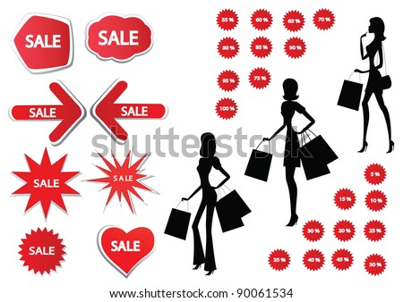 Set of red sale stickers and silhouettes of women shopping