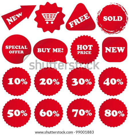 Set of red sale stickers for websites and print