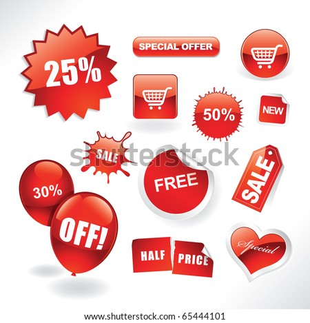 Set of red sale stickers, tags, buttons and icons for websites and print