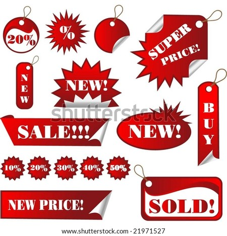 Set of Red sales Tags