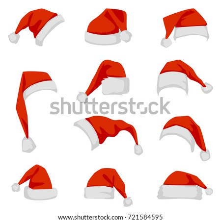 Set of red Santa Claus hats. Red New Year's headdress in a flat style isolated on a white background. Stock fotó ©