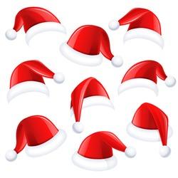 Set of red santa hats