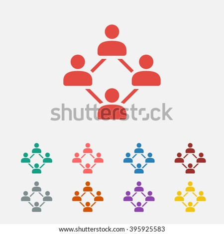 Set of: red Social vector icon