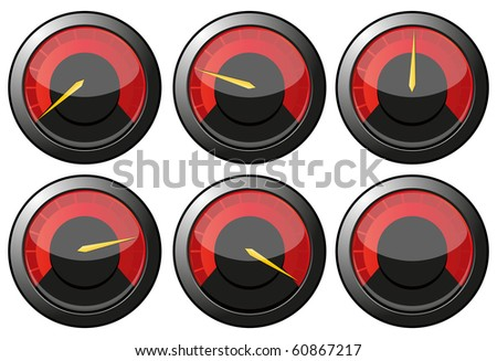 Set of red speedometers for car or power or thermometers, vector illustration