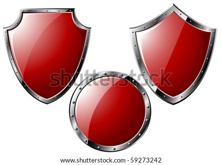 Set of red steel shields - isolated on white (vector)