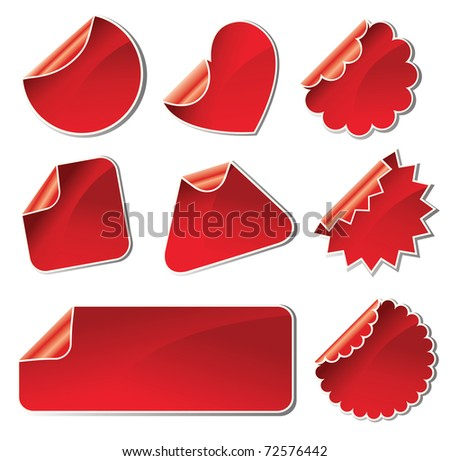 set of red stickers