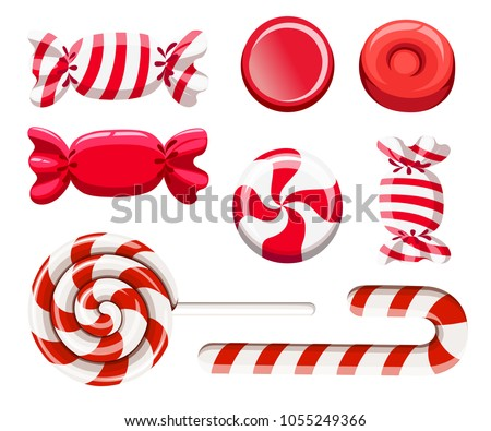 Set of red sweetmeats. Hard candy, candy cane, lollipop. Candys in wrapper. Vector illustration isolated on white background. Web site page and mobile app design.