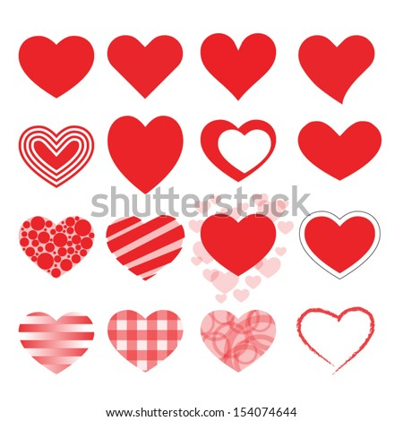 set of red vector hearts icons