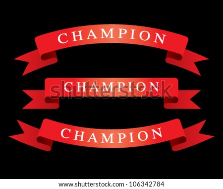 Set of red vector ribbons Champion