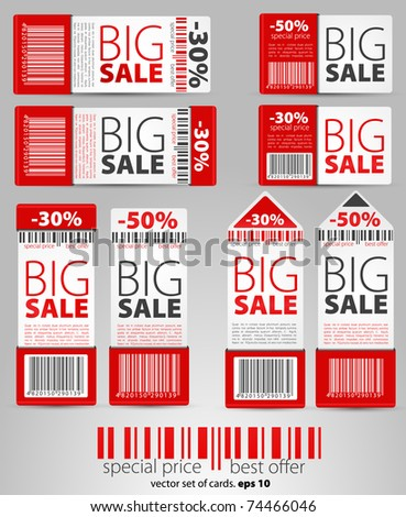 Set of red vector sale tickets and labels