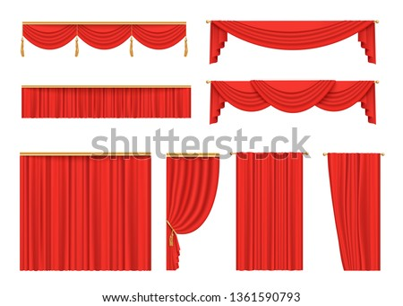 Set of red velvet curtains for theatre stage, opening night premiere decoration for cinema or presentation event, scarlet fabric drapery and valance, isolated vector illustration on white background