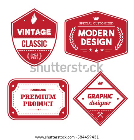 Set Of Red Vintage Badge Tag Banner For Clothing Premium Quality Illustration Vector
