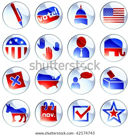 Set of red white and blue election icons (Eps10); jpg version also available