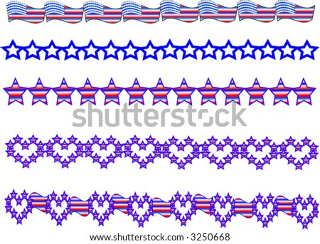 set of red white and blue patriotic vector style border illustrations